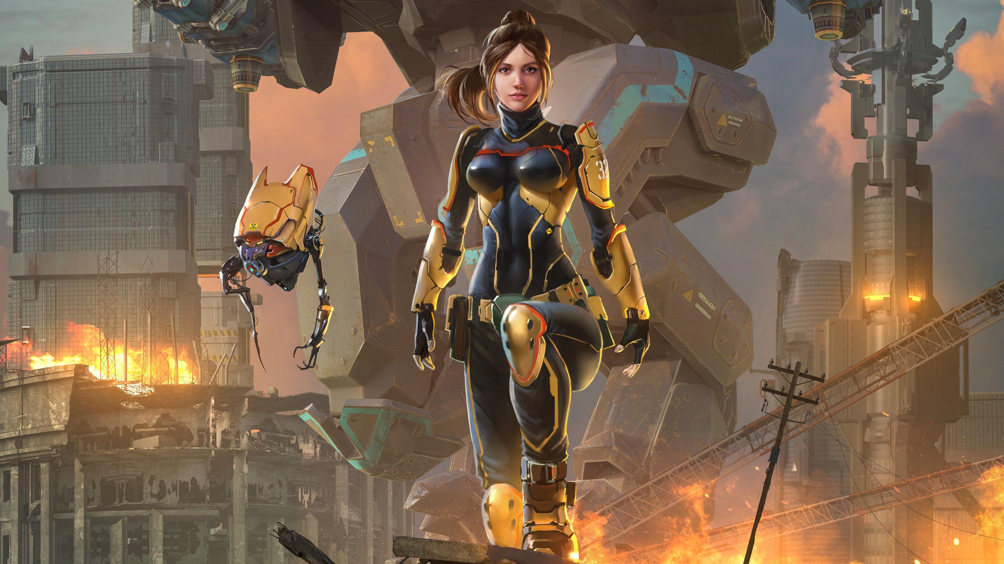 Warrior Fantasy Girl With Robot 4k HD Fantasy Girls 4k