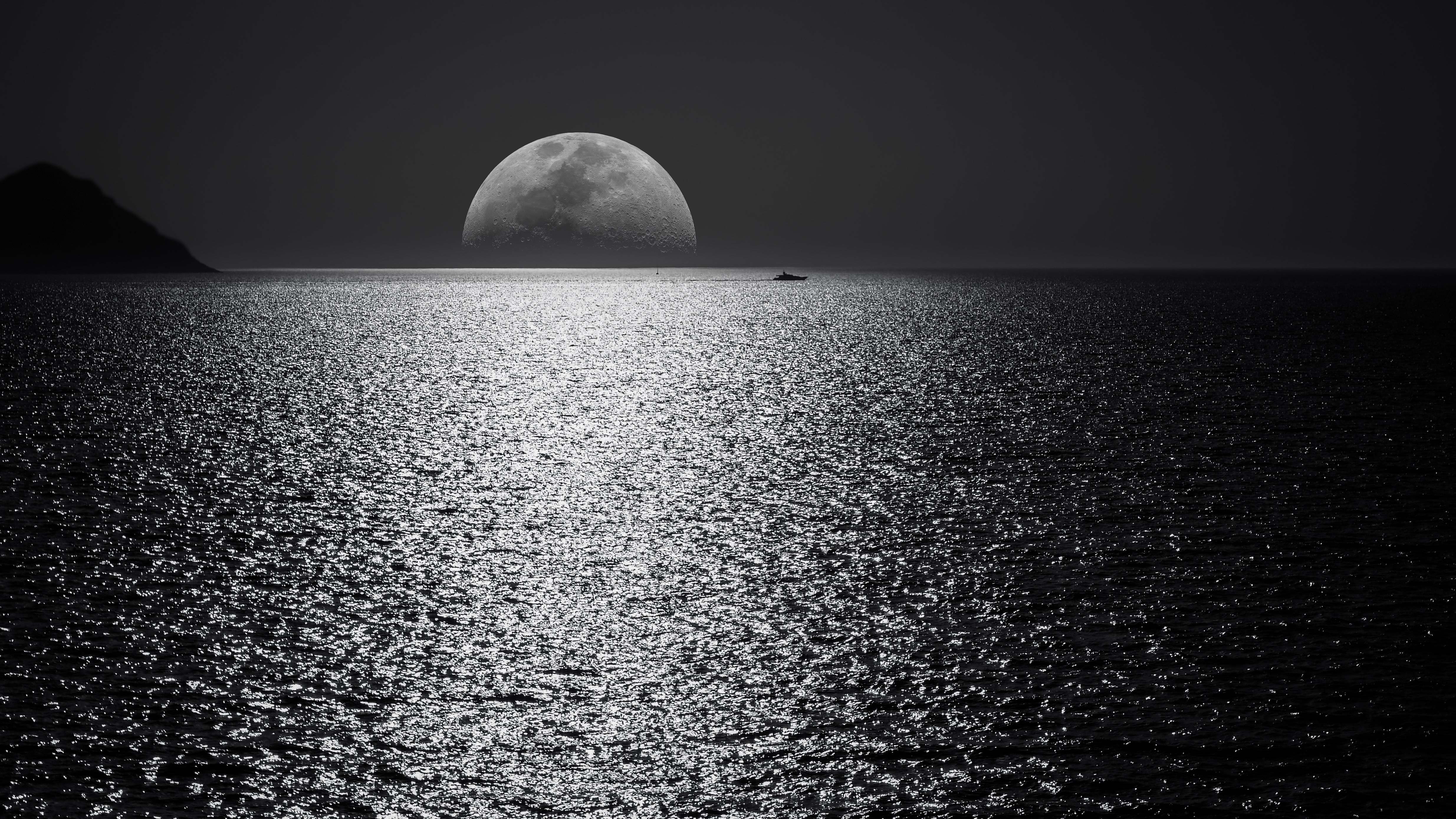 White Black Moon Evening Night Time Seascape 5k Hd Nature 4k Wallpapers Images Backgrounds Photos And Pictures