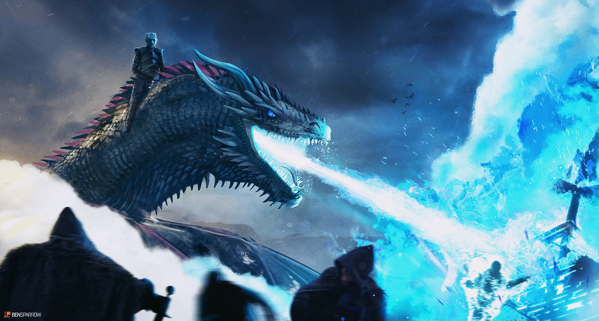 White Walker And Dragon Breaching The Wall Hd Tv Shows 4k