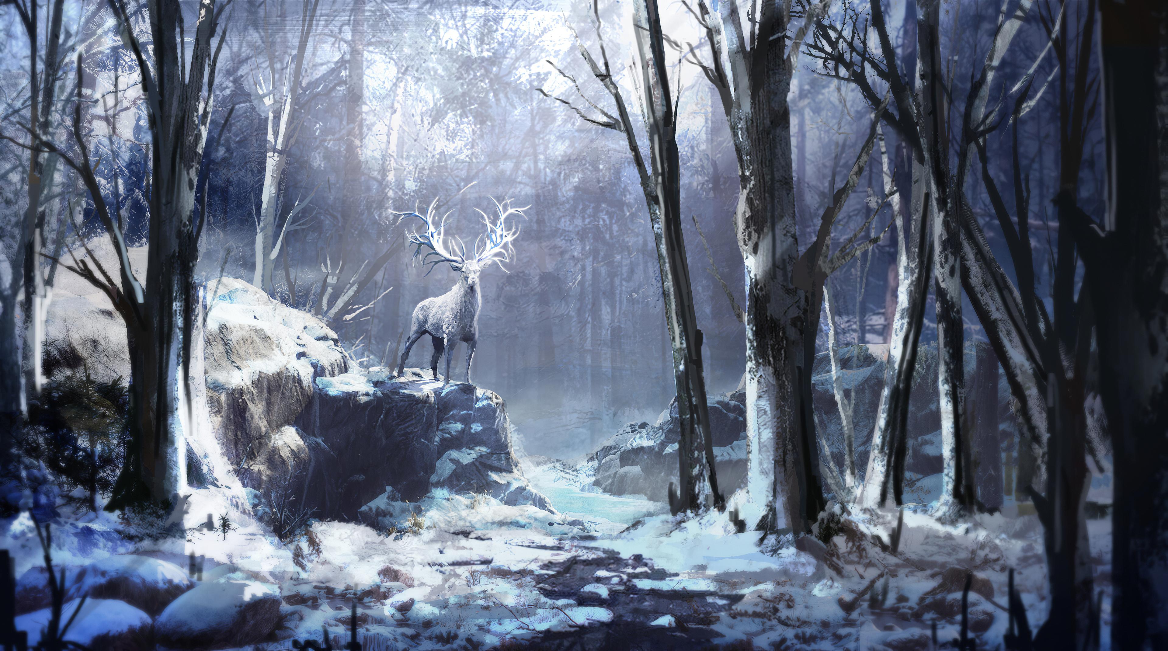 Winter Forest Reindeer 4k, HD Artist, 4k Wallpapers ...
