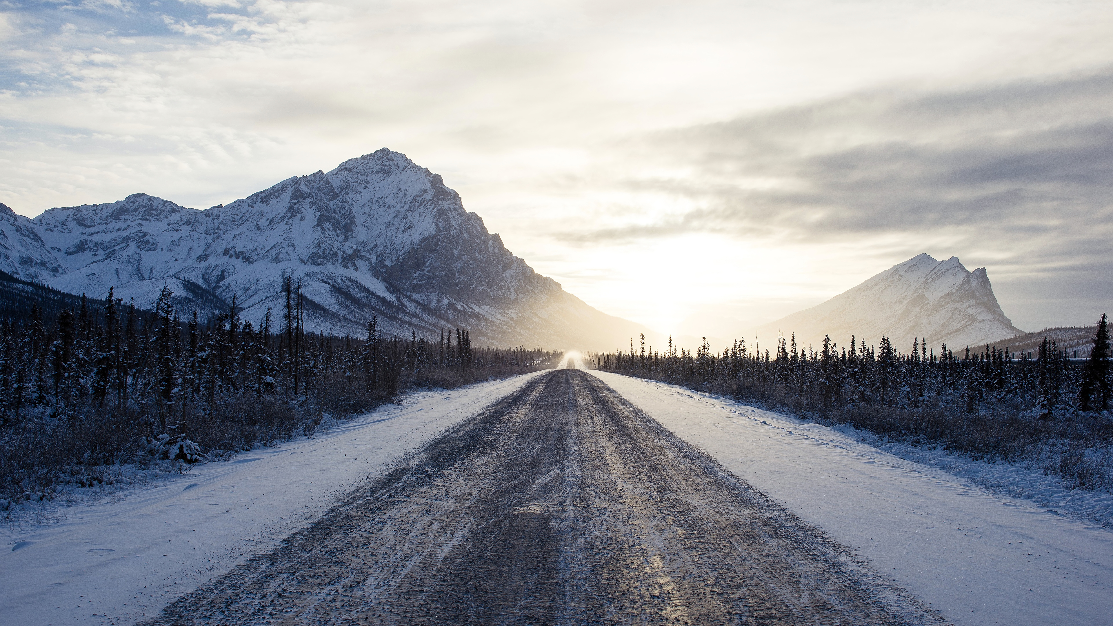 Winter Road Mountains 4k Hd Nature 4k Wallpapers Images Backgrounds Photos And Pictures