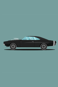 2160x3840 1970 Dodge Charger Fast And Furious Edition Illustration