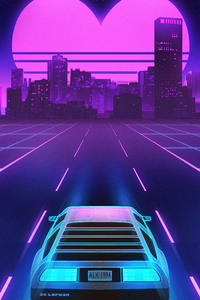 1280x2120 1980s Delorean Vaporwave Heart Shape Sunset