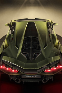 720x1280 2019 8k Lamborghini Sian Upper View