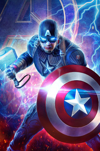640x960 2019 Captain America Mjolnir Avengers Endgame 4k