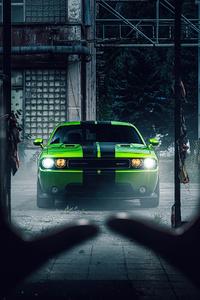 480x800 2020 Green Dodge Challenger 4k