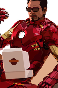 1242x2688 2020 Iron Man Eating Donuts