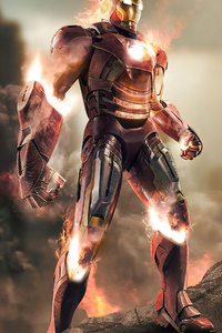 800x1280 2020 Iron Man Fire 4k