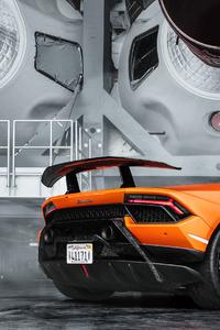 1440x2960 2020 Orange Lamborghini 4k
