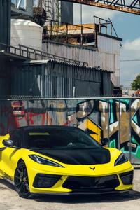 2021 Vossen Yellow And Black Corvette C8