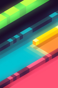 360x640 3d Abstract Colorful Shapes Minimalist 5k
