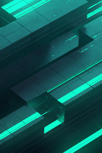 3d Abstract Neon Glow Teal Digital Art Shapes