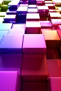 640x1136 3d Colorful Cubes