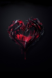 1280x2120 3d Heart Abstract Shape