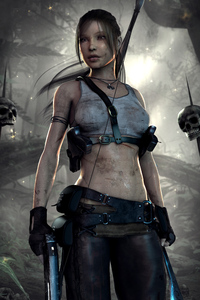 750x1334 4k Art Lara Croft