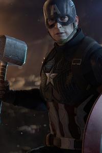 640x960 4k Captain America Thor Hammer