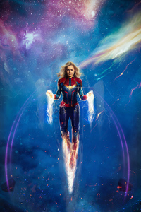 1440x2960 4k Captain Marvel Artwork