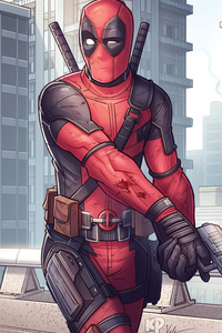 1280x2120 4k Deadpool Artwork New