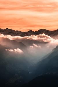 4k Fog Mountains Orange Sky