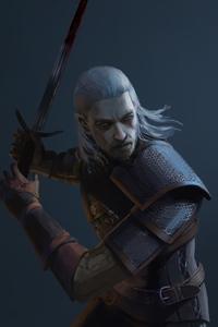 320x480 4k Geralt Of Rivia