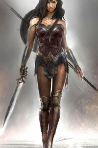 640x960 4k Wonder Woman New Art