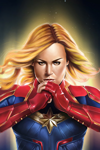 640x1136 4kcaptain Marvel Art