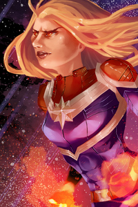 5k Art Captain Marvel
