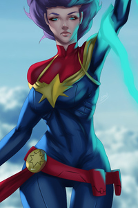 750x1334 5k Captain Marvel Art