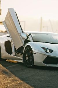 480x854 5k White Lamborghini Aventador