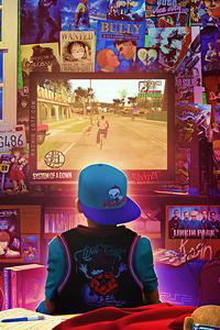 90s Kid Playing Gta Sanandreas Retro Art