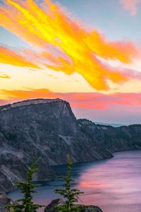 320x480 A Calm Sunset Crater Lake Oregon