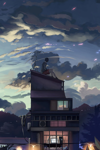 640x1136 A Cloudy Evening Anime Girl Sitting Rooftop 4k
