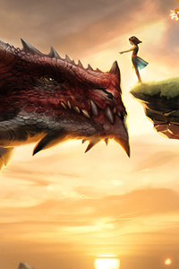 480x854 A Girl And Her Dragon