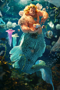 1080x2160 A Merman Trying To Eat In A Plastic Polluted Ocean