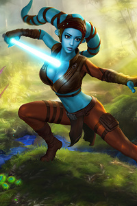 480x800 Aayla Secura Star Wars 4k
