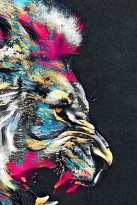 1242x2688 Abstract Artistic Colorful Lion