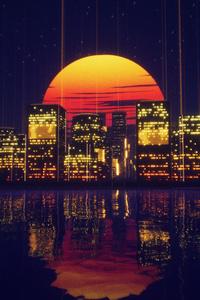 Abstract City Retro Sunset Night 4k