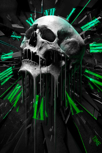 Abstract Skull Clock