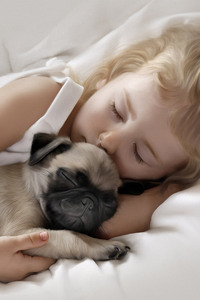 1125x2436 Adorable Little Girl Sleeping with Pug Puppy