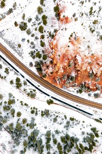 320x568 Aerial Photography Winter Road 5k