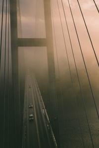 Aerial View Of Bridge Misty Water