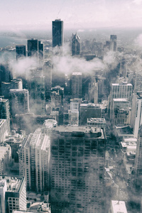 480x800 Aerial View Of Buildings Smoke Fog Monochrome