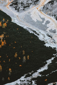 1440x2960 Aerial View Of Frozen Winter Landscape 5k