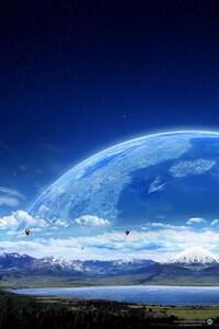 1440x2960 Air Ballon Planet