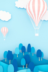 480x854 Air Ballons Minimal Landscape 5k