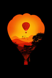 2160x3840 Air Balloon Minimal Dark Art 4k