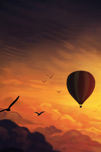 Air Balloon Sunset Digital Art