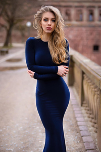 240x320 Alexa Breit Blonde In Blue Dress 4k