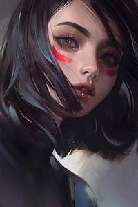1125x2436 Alita Face Portrait Art 4k