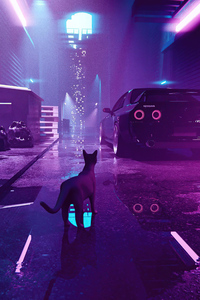 Alley Cat Nissan Skyline Vaporwave 4k